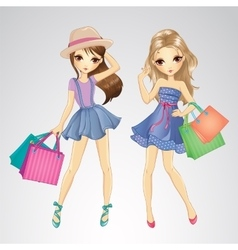 Cute Girls With Shopping Bags vector image