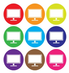 Desktop computer icon set vector