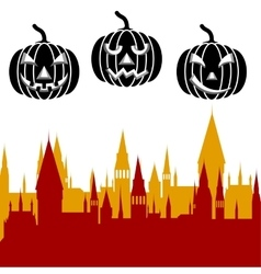 Halloween pumpkin and castle tower vector image