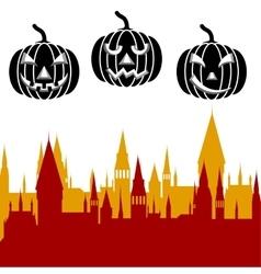 Halloween pumpkin and castle tower vector