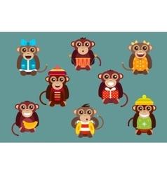 Happy cartoon monkey dancing party birthday vector