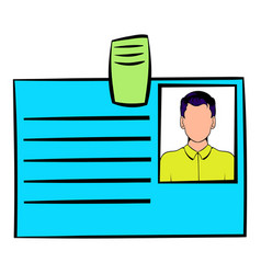 Identification card icon cartoon vector