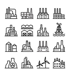 industrial building factory icon set in thin vector image