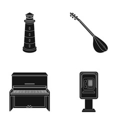 Lighthouse musical instrument and other web icon vector
