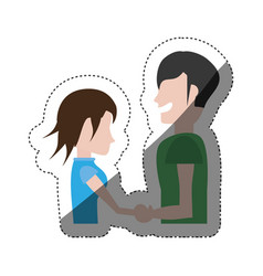 Man and woman relation happy shadow vector