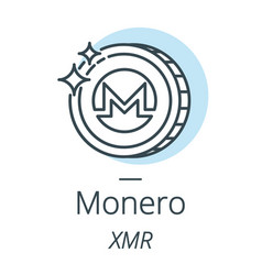 Monero cryptocurrency coin line icon of virtual vector