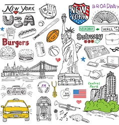 New York city doodles elements Hand drawn set with vector image vector image