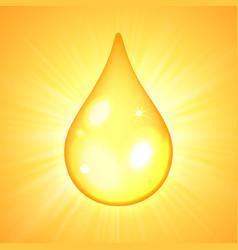 oil drop on yellow sunburst background vector image