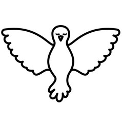 pigeon peace front view on black silhouette vector image