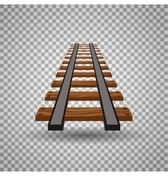 Railway tracks or rail road line on transparent vector