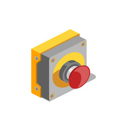 red button isometric vector image vector image