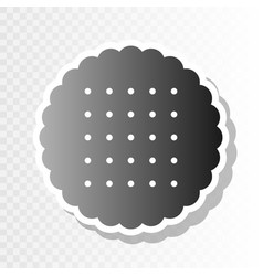 round biscuit sign new year blackish icon vector image