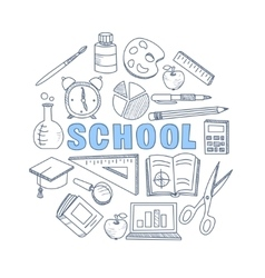 School Hand Drawn Set vector image vector image