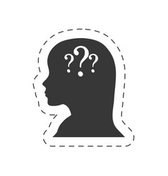 silhouette female head question mark vector image vector image