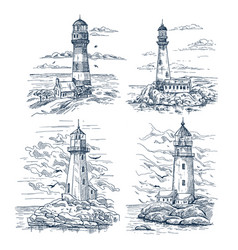 Sketches with lighthouse on island at sea or ocean vector