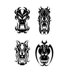 skull tribal tattoo set vector image vector image