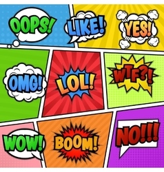 Speech bubbles tags at colorful background vector