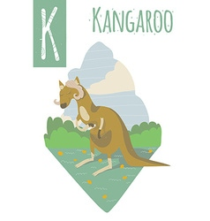 Vertical of kangaroo with colorful meadow vector