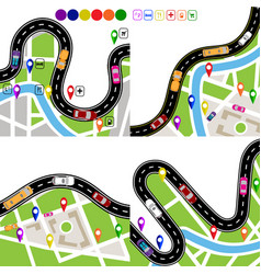 Infographics set of winding roads with signs vector