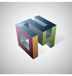 2014 cube logo vector image vector image