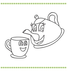 Funny teapot and cup - coloring book vector