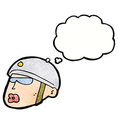 Cartoon policeman head with thought bubble vector