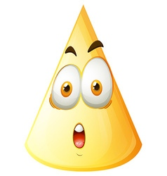 Yellow cone with face vector