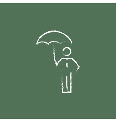 Businessman with umbrella icon drawn in chalk vector