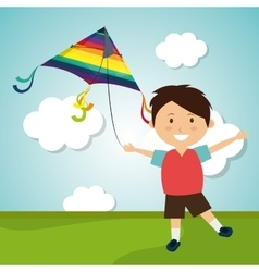 Kite flying in cloudscapes vector