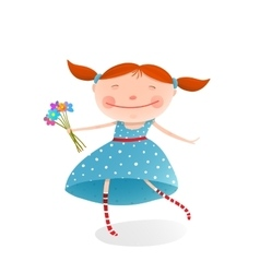 Small girl with bouquet of flowers wearing blue vector
