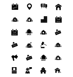 Real estate solid icons 4 vector