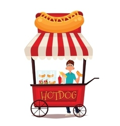 Street stall with hot dogs vector
