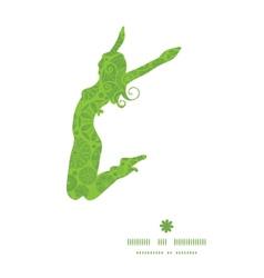 abstract green and white circles jumping girl vector image