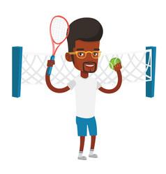 African-american tennis player vector