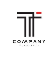 Alphabet letter t line lineart logo icon design vector image