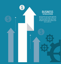 Arrow growth gears business icon graphic vector