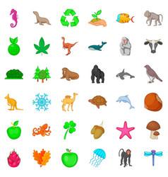 Bio icons set cartoon style vector