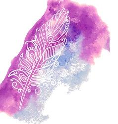 Bird feather on watercolor spot vector