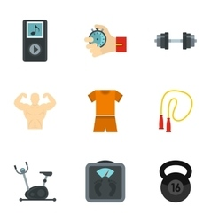 Bodybuilding icons set flat style vector