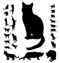 cat silhouette collection vector image vector image