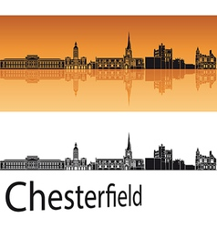 Chesterfield skyline in orange background vector image