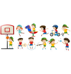 children playing different sports and game vector image
