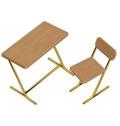 Children school desk chair vector