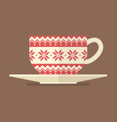 Christmas cup with pattern vector