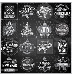 Christmas emblems set chalkboard vector