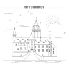 City buildings graphic template bousov castle vector