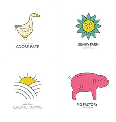 Colorful farm animals vector