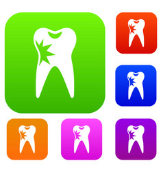 Cracked tooth set collection vector