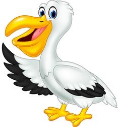 Cute cartoon pelican waving isolated vector