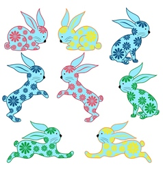 Eight ornamental rabbits vector image vector image